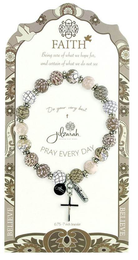 Neutral Colored Faith Bracelet bracelet, crystal bracelet, bead bracelet, stretch bracelet,glass bead, faith charm,silver, 495-006