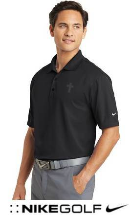 Nike Golf Dri-FIT Micro Pique Polo, Black with Embroidered Cross