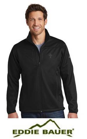 Eddie Bauer® Weather-Resist Soft Shell Jacket with Embroidered Cross priest apparel, priest pullover, priest shirt, clergy apparel, clergy golf shirt
