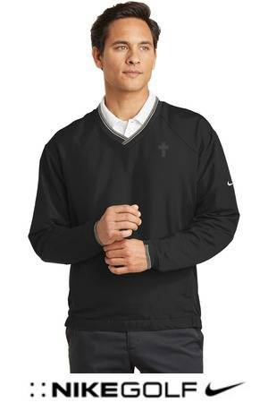 Nike Golf V-Neck Windshirt, Black with Embroidered Cross priest apparel, priest pullover, priest shirt, clergy apparel, clergy golf shirt
