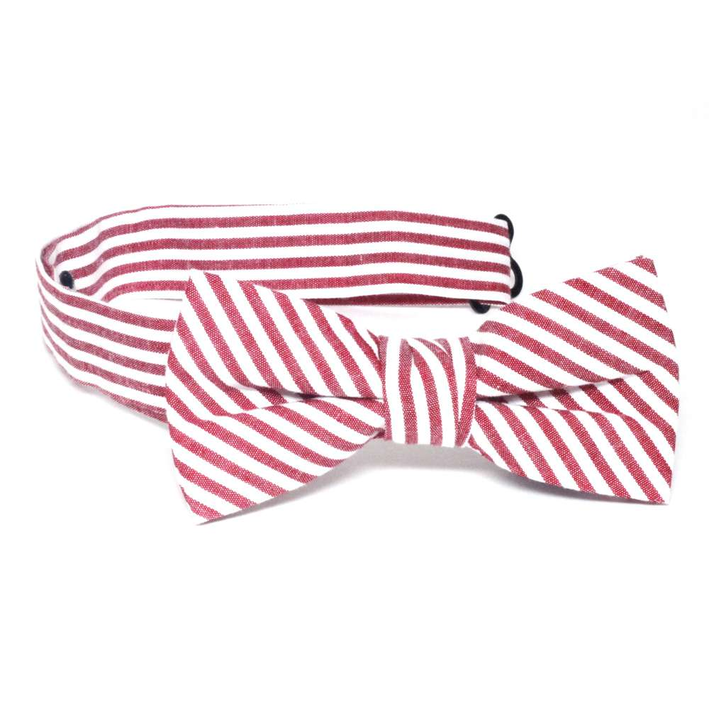 Red & White Stripe Bow Tie