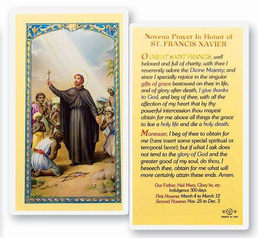 Novena Prayer In Honor of St. Francis Xavier Laminated Prayer Card