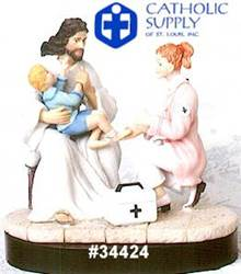 Nurse and Jesus Statue