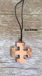 Olivewood Cross On Brown Cord Necklace