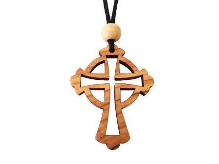 Olive Wood Celtic Cross Pendant