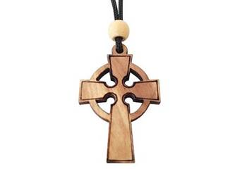 "Olive Wood Celtic Cross W/Cord 1.6"" in Height"