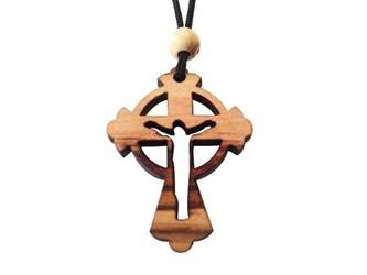 "Olive Wood Celtic Risen Cross W/Cord 1.6"" in Height"