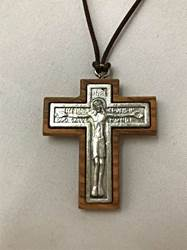 Olive Wood Crucifix Necklace