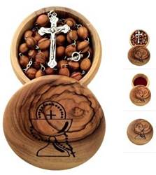 Olive Wood First Communion Box and Rosary Set