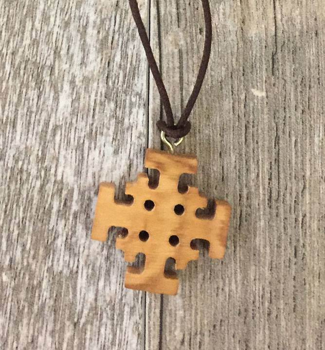 Olive Wood Jerusalem Cross With Cord