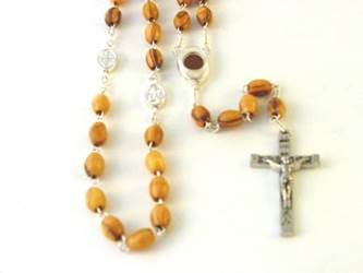 Olive Wood Rosary with Soil Centerpiece and Medal Decade