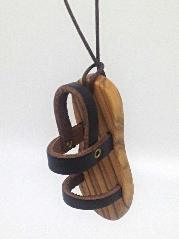 Olive Wood Sandal Necklace With Cord necklace, olivewood necklace, sandal necklace, st francis necklace,