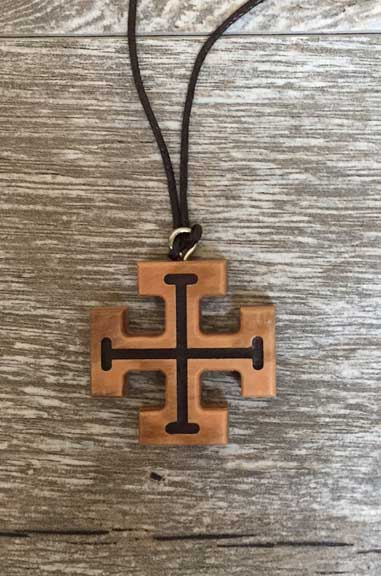 Olivewood Cross On Brown Cord Necklace cross from italy, olive wood, olive wood cross, italian cross, italian jewelry, jewelry from italy, necklaces in bulk, bulk jewelry, bulk necklaces, sale necklace