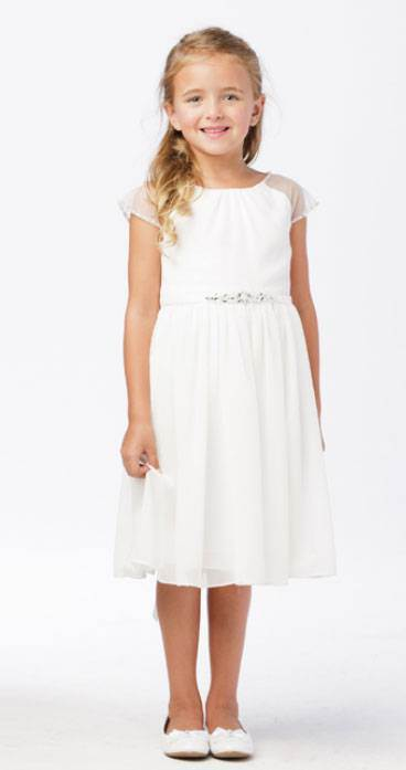 Olivia White First Communion Dress Simple Chiffon Dress with Illusion Sleeves