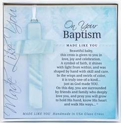 "On Your Baptism 4"" Glass Cross"