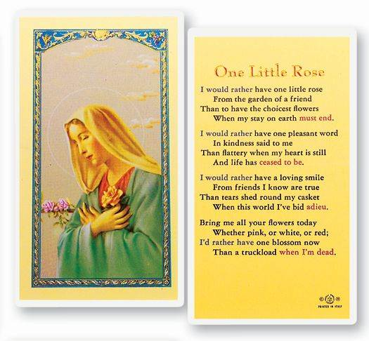 One Little Rose Holy Card