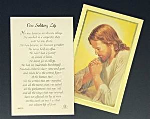 One Solitary Life Prayercard 100/PK