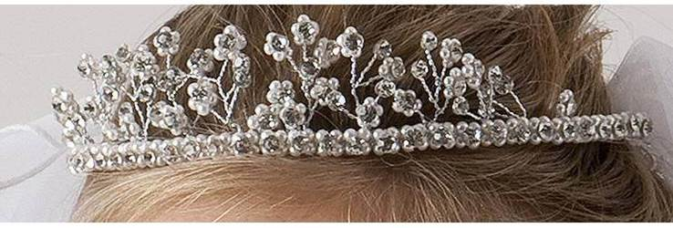 Ornate Pearl and Rhinestone Tiara Veil