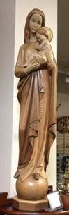 Our Lady Of Universe 3' Wood Carved Statue - 3 Tone Stain