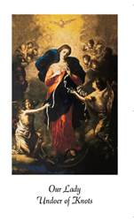 Our Lady Undoer Of Knots Laminated Prayer Card prayer card, laminated prayer card, pope francis prayer, sacramental gift, prayer to Mary.