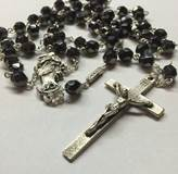 Our Lady Undoer of Knots Hematite Faceted Glass Rosary