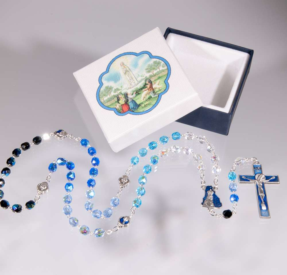 5X6MM GLASS BEAD OUR LADY OF FATIMA ROSARY WITH ENAMELED OUR FATHER BEADS  5X6mm Glass Bead Our Lady Of Fatima Rosary With Enameled Our Father Beads.
