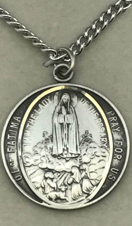 "Our Lady of Fatima Round Sterling Silver Medal on 24"" Chain"