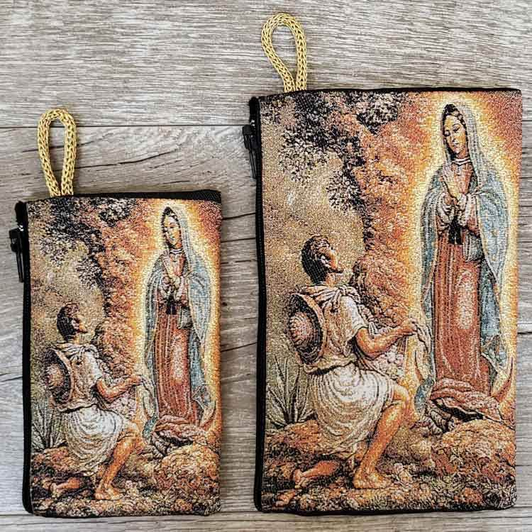 Our Lady of Guadalupe (Standing) Woven Rosary Pouch from Turkey