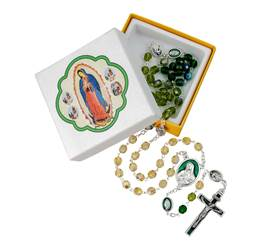 Tri Color Glass Bead Rosary Our Lady Of Guadalupe