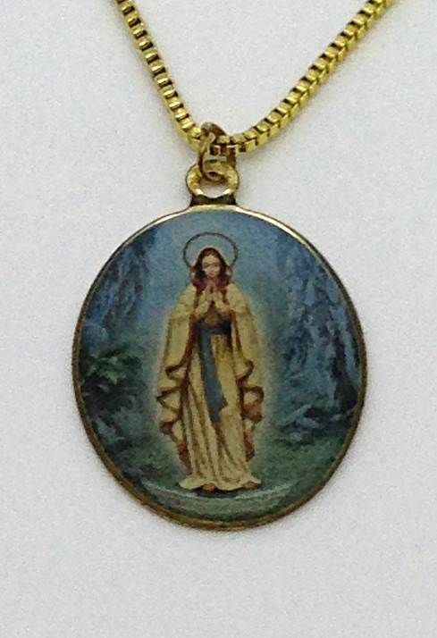 "Our Lady of Lourdes Oval Necklace 18""Chain/12 PK"