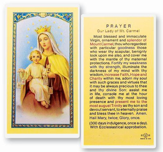 Our Lady of Mount Carmel Laminated Prayer Card