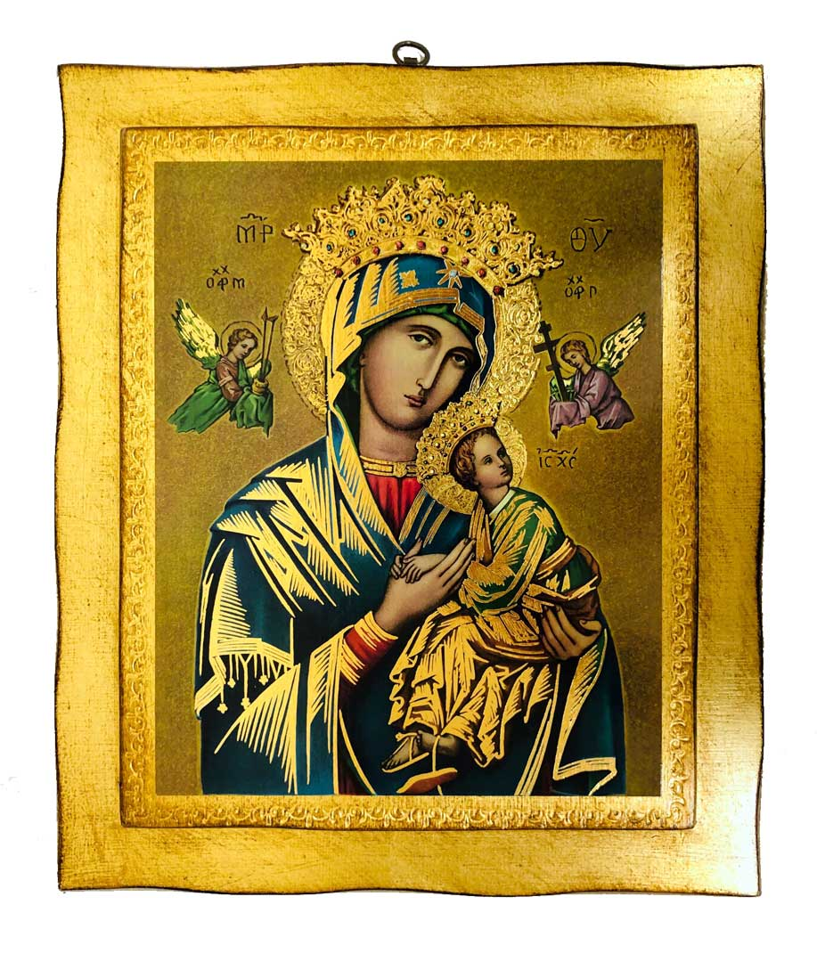 Our Lady of Perpetual Help Gold Leaf Wall Plaque from Italy