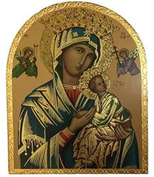 Our Lady of Perpetual Help Gold Leaf Wall Plaque from Italy with Florentine Finish