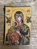 Our Lady of Perpetual Help Gold Woven Pouch from Turkey