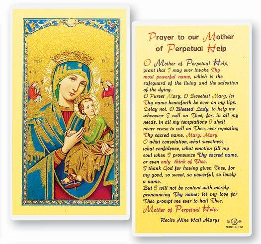 Our Lady of Perpetual Help Laminated Prayer Card