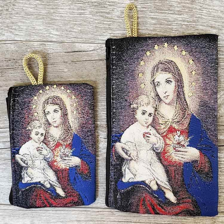 Our Lady of the Sacred Heart Woven Rosary Pouch from Turkey
