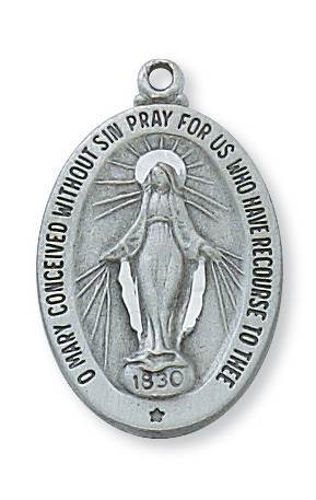 "Oval Miraculous Medal on 18"" Chain, Pewter"