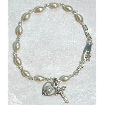 Oval Pearl Bracelet With Miraculous & Crucifix