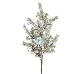 "Snowy pine greenery pick spray with blue and silver ornaments, pinecones, and blue and gold foam berries.  Made of plastic and foam.  16""H X 8""W X 3""D 37"" overall height"