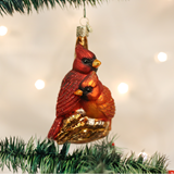 Pair of Glass Cardinal Ornaments