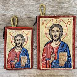 Pantocrator, Christ Savior and Life Giver, Woven Rosary Pouch from Turkey