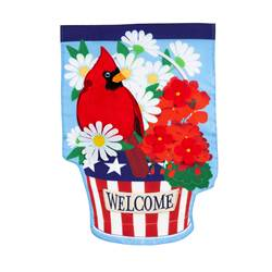 Patriotic Cardinal and Flowers Garden Applique Flag