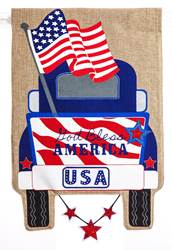 "Patriotic Pick-Up Truck Garden Burlap Flag 12"" x 18"""