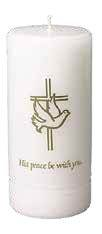 Peace Be with You 3 x 7 White Pillar Candle