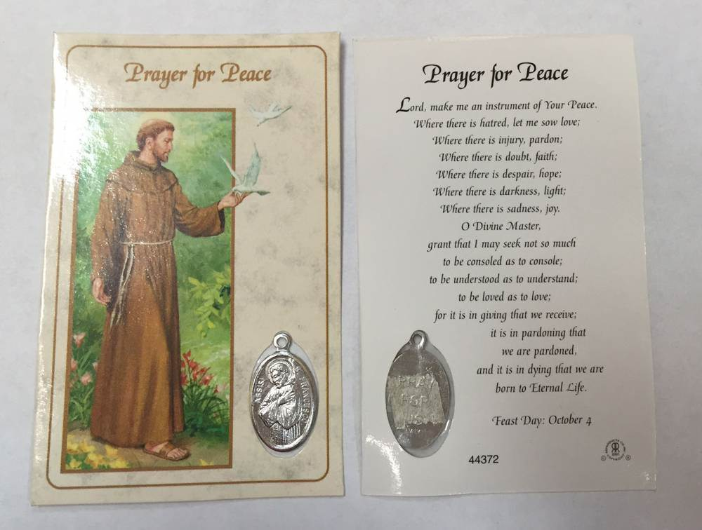 Peace Prayer/Saint Francis Pocket Card with Medal PACK OF 24