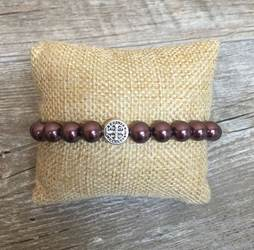 Pearl Blessing Bracelet with Burgundy Swarovski Pearl Beads benedictine