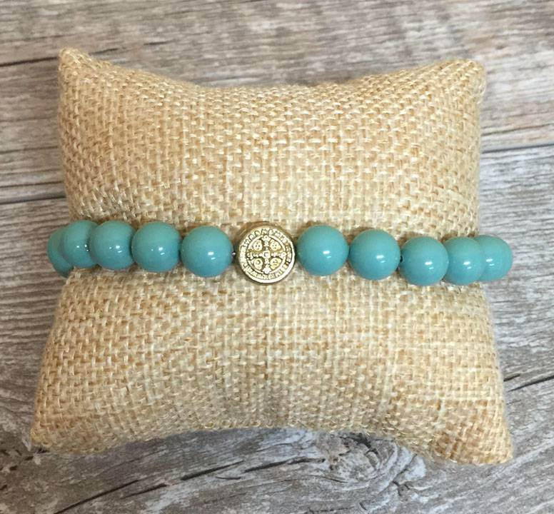Pearl Blessing Bracelet with Jade Swarovski Pearl Beads benedictine