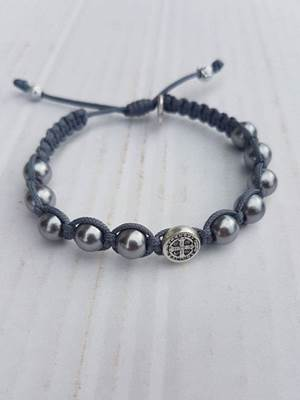 Pearl Blessing Bracelet with Silver Beads/Grey Thread