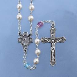 Pearl Rosary with Multi Colored Tin Cut Our Father Beads ??6mm Czech pearl rosary, locklink with pastel multi Our Fathers, 21?