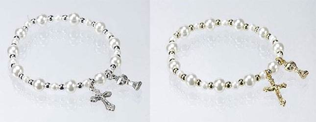 Pearl and Metal Bead Communion Stretch Bracelet